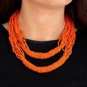 Jewelry - Orange Rainforest Necklace & Earring Set